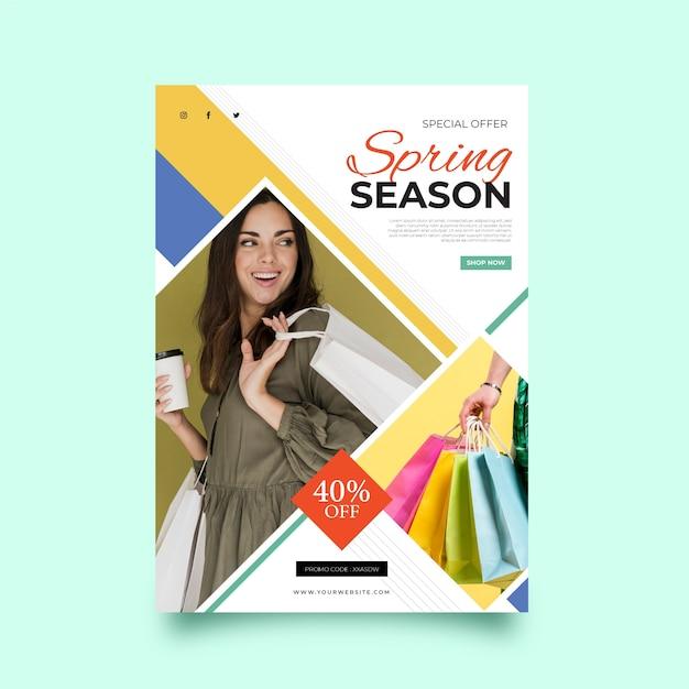Sjabloon folder met afbeelding lente verkoop Gratis Vector