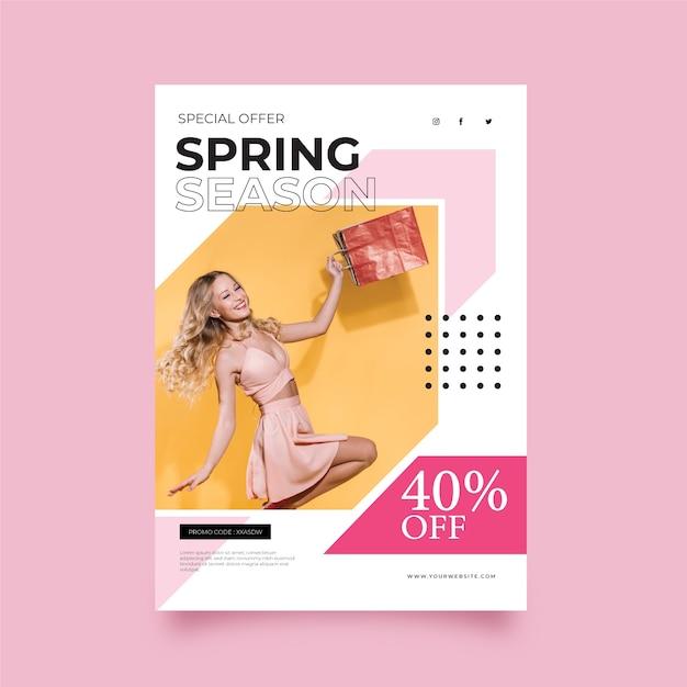 Sjabloon folder met foto lente verkoop Gratis Vector