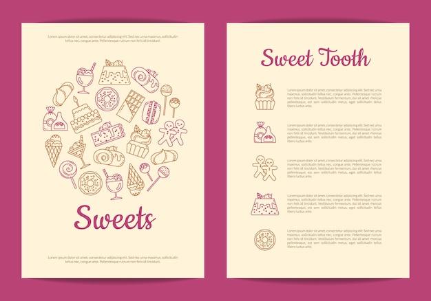 Sjabloon folder voor gebak of banketbakkerij Premium Vector