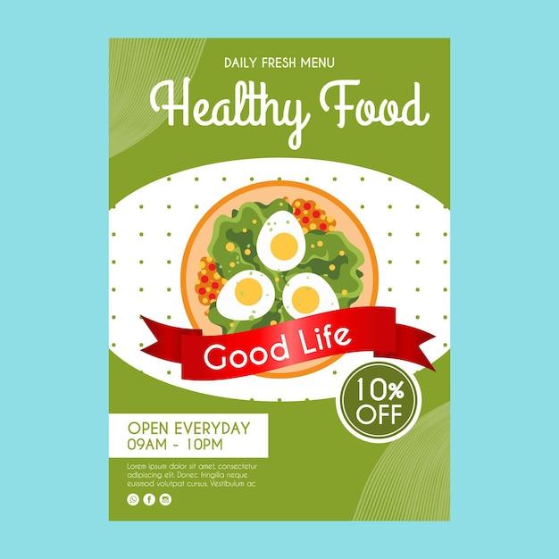 Sjabloon folder voor gezonde voeding restaurant Gratis Vector