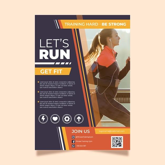 Sjabloon folder voor sporten met foto Gratis Vector