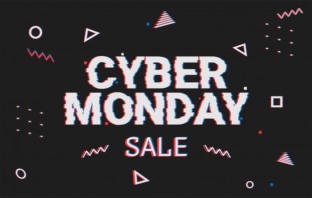 Sjabloon geometrische webbanner voor cyber maandag aanbieding. promotieontwerp in glitchstijl met geometrisch deeltje voor cyberverkoop. memphis glitch. 8-bit pixel art stijl. Premium Vector