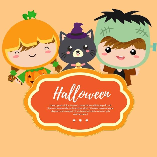 Sjabloon Halloween.Sjabloon Halloween Met Kostuum Kinderen Vector Premium