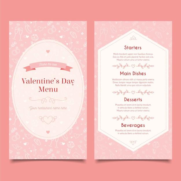 Sjabloon handgetekende valentijnsdag menu Gratis Vector