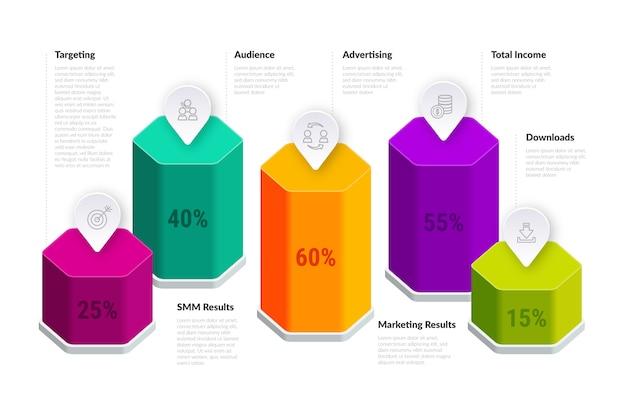 Sjabloon infographic 3d-balken Gratis Vector