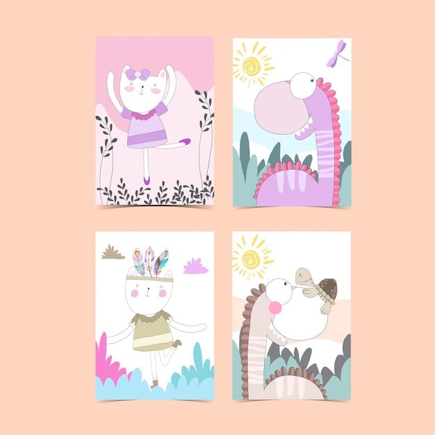 Sjabloon kaartcollectie voor baby shower Premium Vector