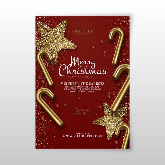 Sjabloon kerstfeest realistische flyer Gratis Vector