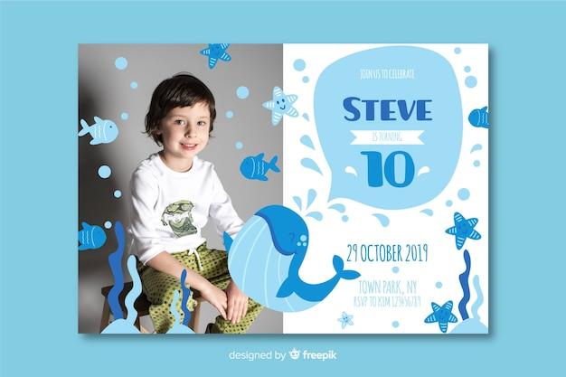 Sjabloon kinderen verjaardagsuitnodiging met afbeelding Gratis Vector