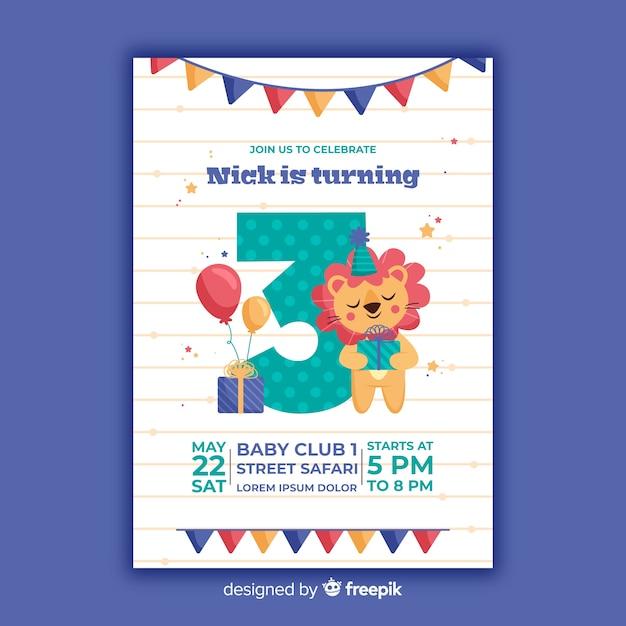 Sjabloon kinderen verjaardagsuitnodiging Gratis Vector