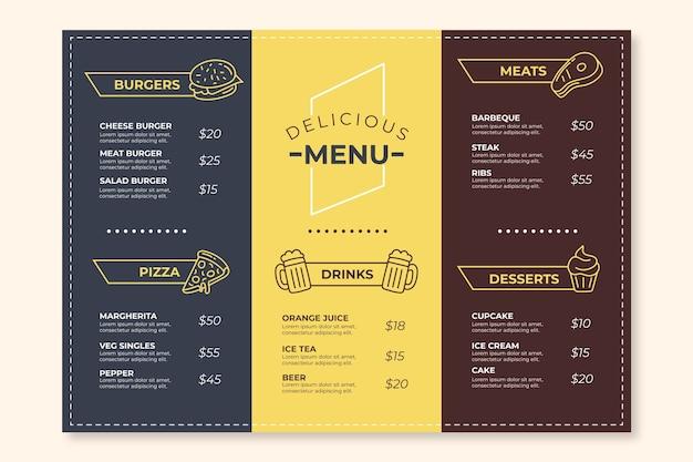 Sjabloon kleurrijk restaurant menu Gratis Vector