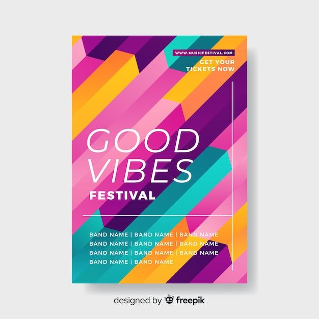 Sjabloon kleurrijke geometrische muziek poster Gratis Vector