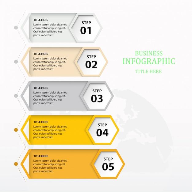 Sjabloon kleurrijke infographic vijf element of stap. Premium Vector
