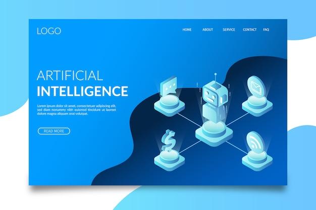 Sjabloon kunstmatige intelligentie bestemmingspagina Gratis Vector