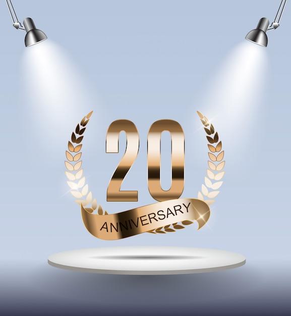 Sjabloon logo 20 jaar verjaardag Premium Vector