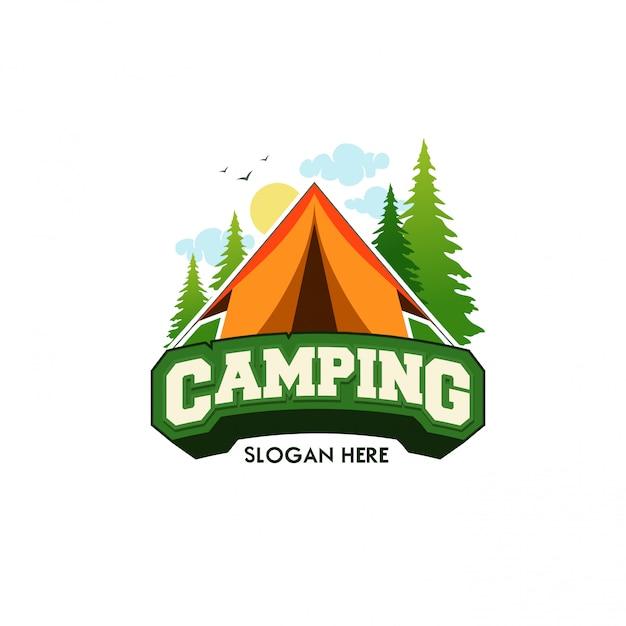 Sjabloon logo camping vectorillustratie Premium Vector