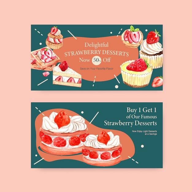 Sjabloon met aardbeien bakken ontwerp sociale media, online community en internet aquarel illustratie Gratis Vector
