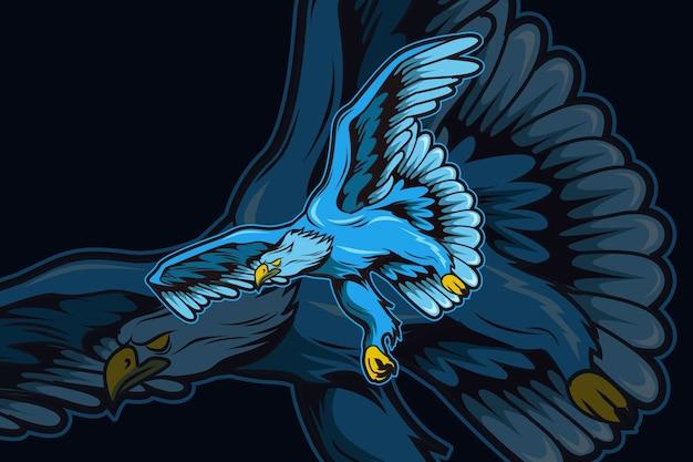 Sjabloon met logo voor blue eagle e-sports team Premium Vector