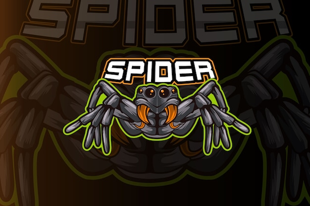 Sjabloon met logo voor spider e-sports team Premium Vector