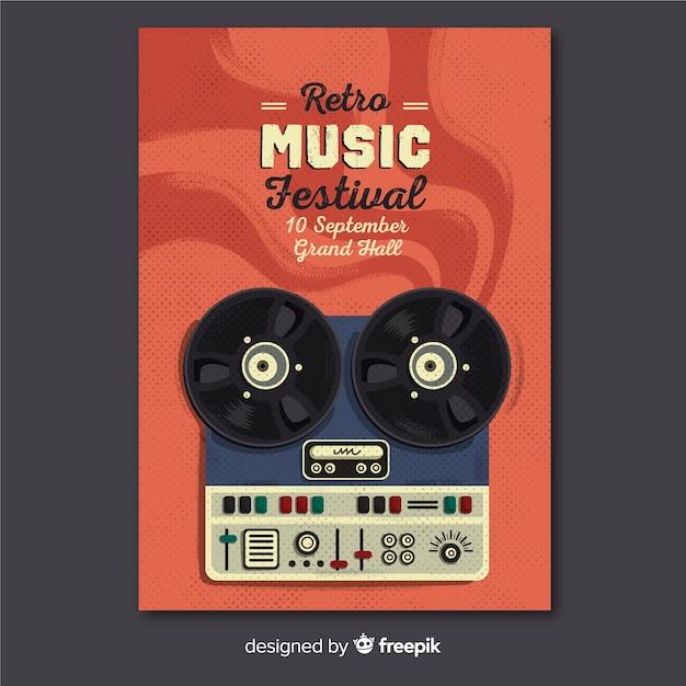 Sjabloon muziek poster retro Gratis Vector