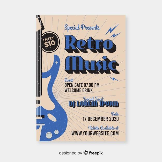 Sjabloon retro muziek poster Gratis Vector