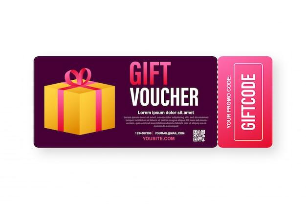 Sjabloon rode en blauwe geschenkenkaart. cadeaubon met couponcode. kortingsbon. illustratie. Premium Vector
