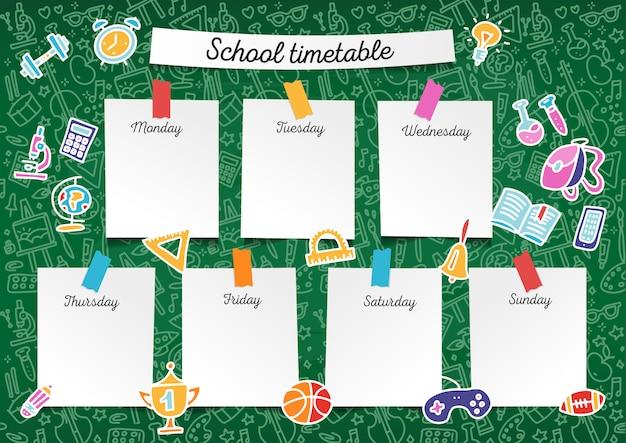 Sjabloon schoolrooster voor studenten en leerlingen. dagen van de week Premium Vector