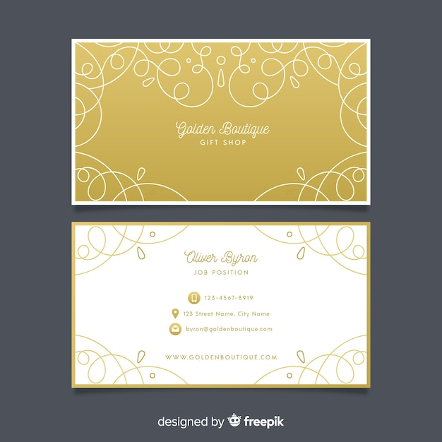 Sjabloon sier gouden visitekaartje Gratis Vector