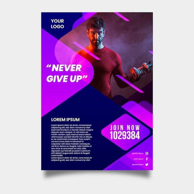 Sjabloon sport folder met afbeelding Gratis Vector