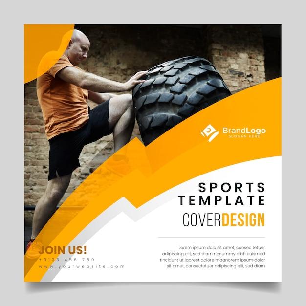Sjabloon sport folder met foto Gratis Vector