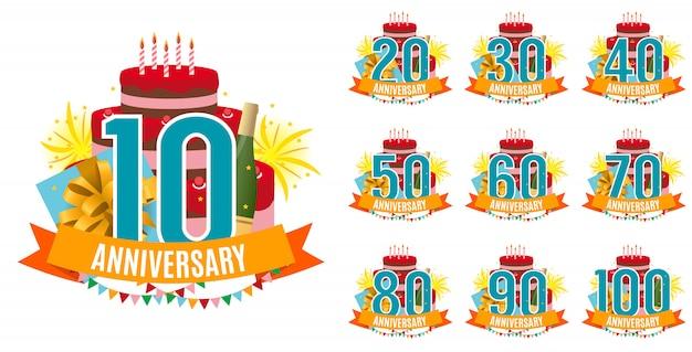 Sjabloon van 10 tot 100 jaar verjaardag gefeliciteerd Premium Vector