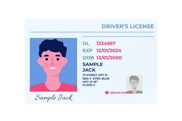 Sjabloon van auto rijbewijs plastic kaart. Premium Vector