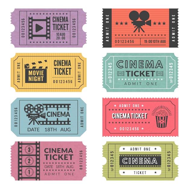 Sjabloon van bioscoopkaartjes. vectorontwerpen van verschillende bioscoopkaartjes met illustraties van videocamera's en andere hulpmiddelen Premium Vector