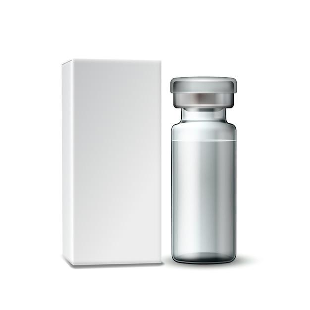 Sjabloon van doorzichtig glazen medische flacon met aluminium dop Premium Vector