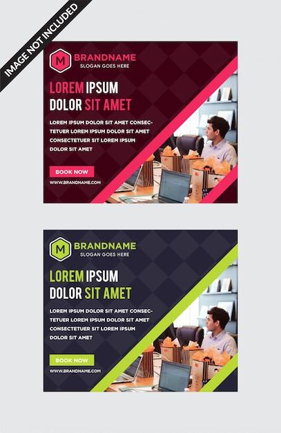 Sjabloon van horizontale webbanners met diagonale ruimte Premium Vector