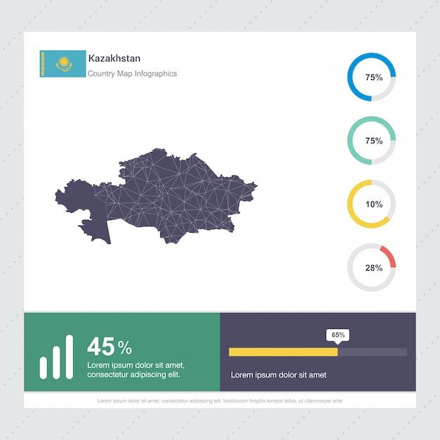 Sjabloon van kazachstan kaart & vlag infographics Gratis Vector