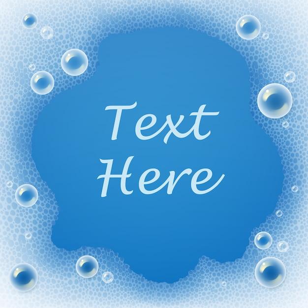 Sjabloon van zeepbellen en schuim voor wasmiddel op blauwe achtergrond met plaats voor tekst Premium Vector