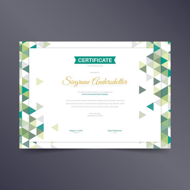 Sjabloon voor abstract geometrisch certificaat Gratis Vector