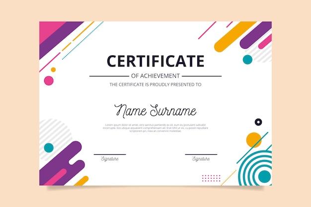 Sjabloon voor abstract geometrisch certificaat Premium Vector