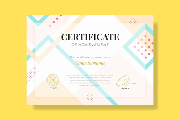 Sjabloon voor abstract geometrisch certificaat Gratis Vector