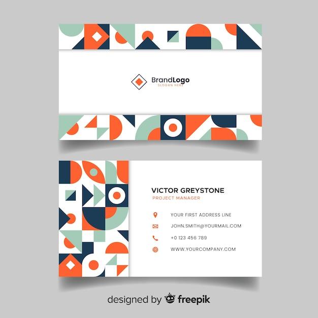 Sjabloon voor abstract geometrische visitekaartjes Gratis Vector