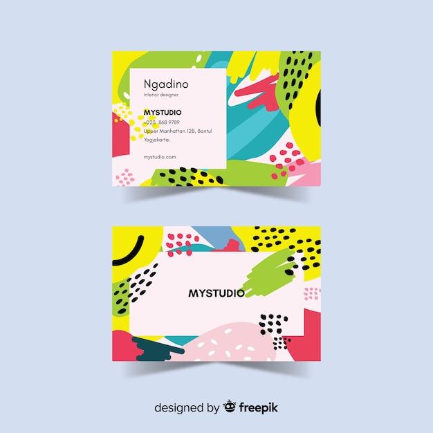 Sjabloon voor abstract geschilderde visitekaartjes Gratis Vector