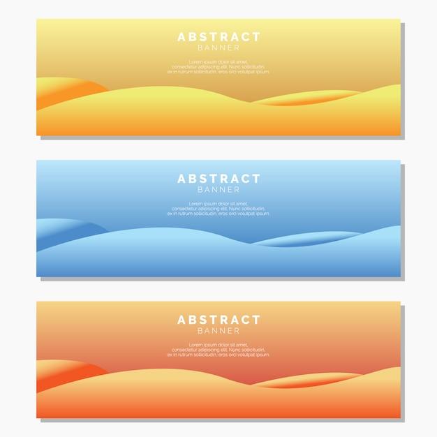 Sjabloon voor abstract golf banners Premium Vector