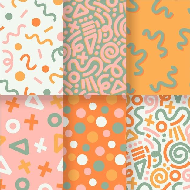 Sjabloon voor abstract hand getrokken patroon pack Premium Vector