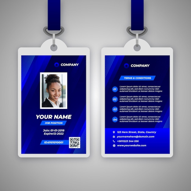 Sjabloon voor abstract id-badge met foto Gratis Vector
