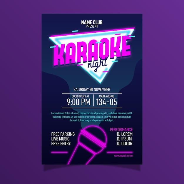 Sjabloon voor abstract karaoke-poster Gratis Vector