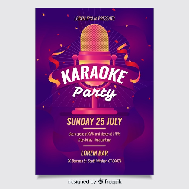 Sjabloon voor abstract karaoke-poster Gratis Vector