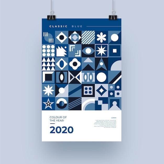 Sjabloon voor abstract klassiek blauw folder Gratis Vector