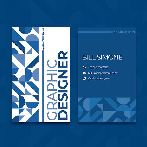 Sjabloon voor abstract klassiek blauw visitekaartje Gratis Vector