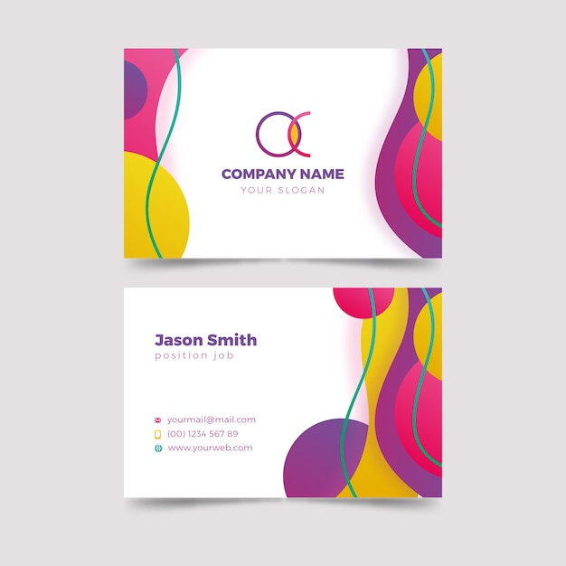 Sjabloon voor abstract kleurrijke visitekaartjes Gratis Vector