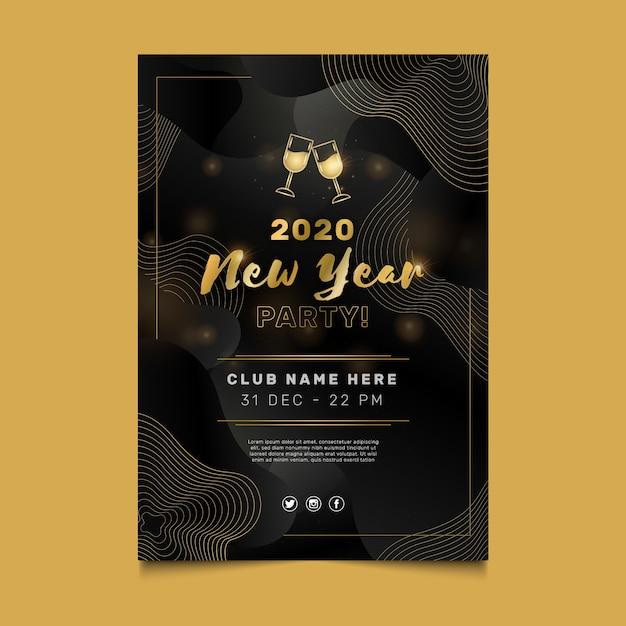 Sjabloon voor abstract nieuw jaar 2020-feestflyer Gratis Vector